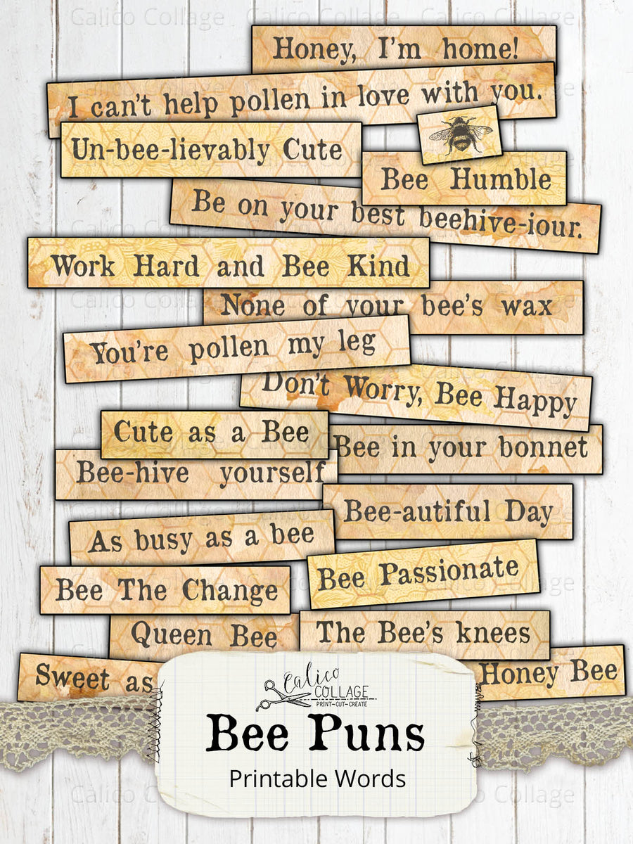 Printable Bee Puns, Mixed Media Words