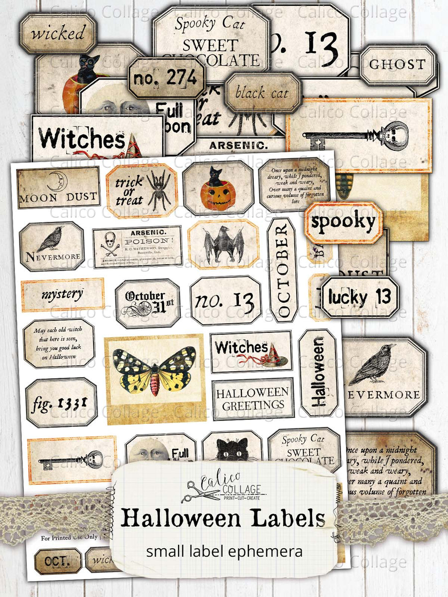 Printable Halloween Labels, Junk Journal Supplies