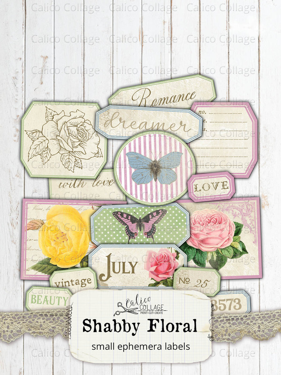 Printable Shabby Floral Ephemera Labels