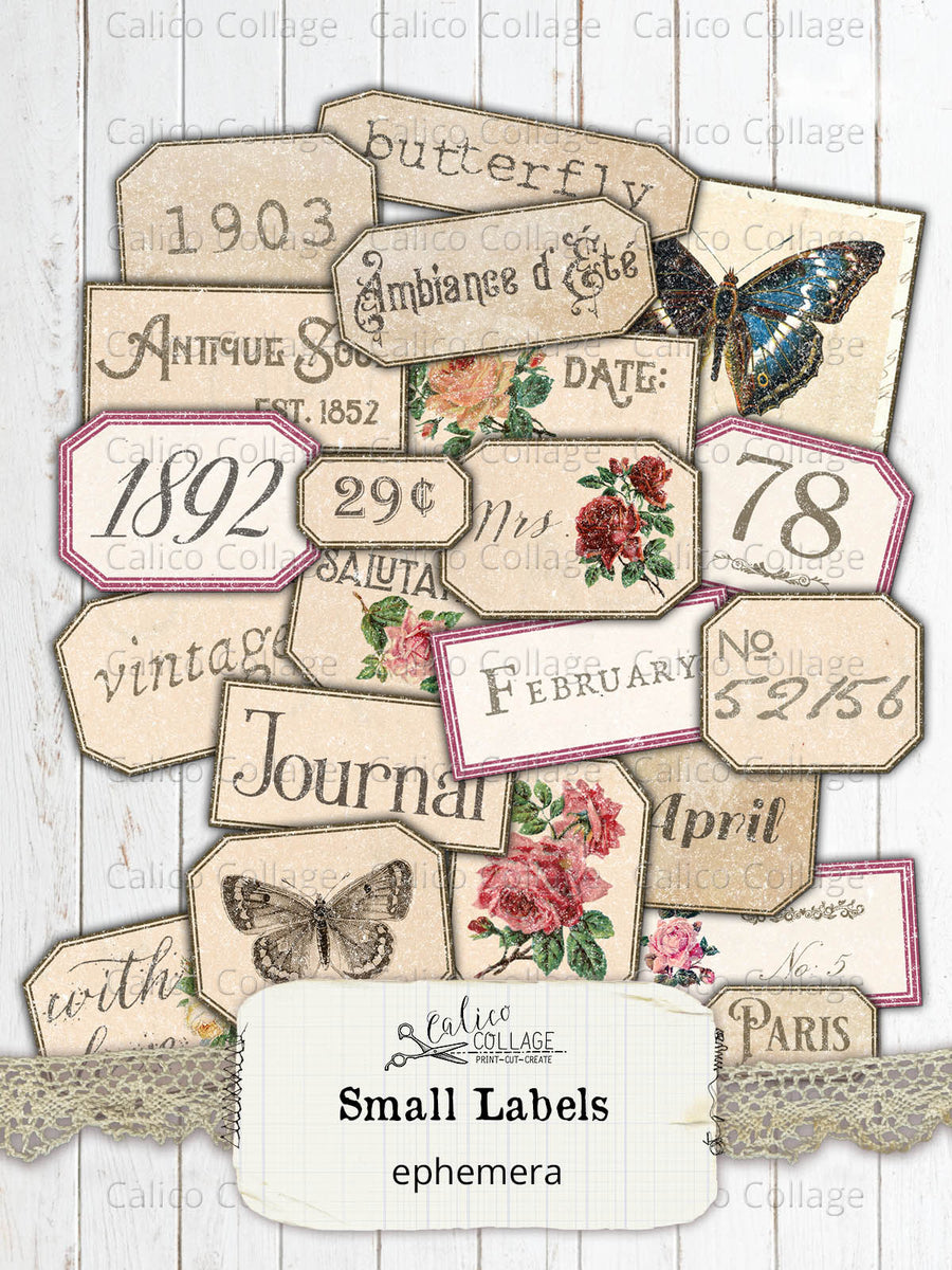 Printable Small Labels, Junk Journal Supplies
