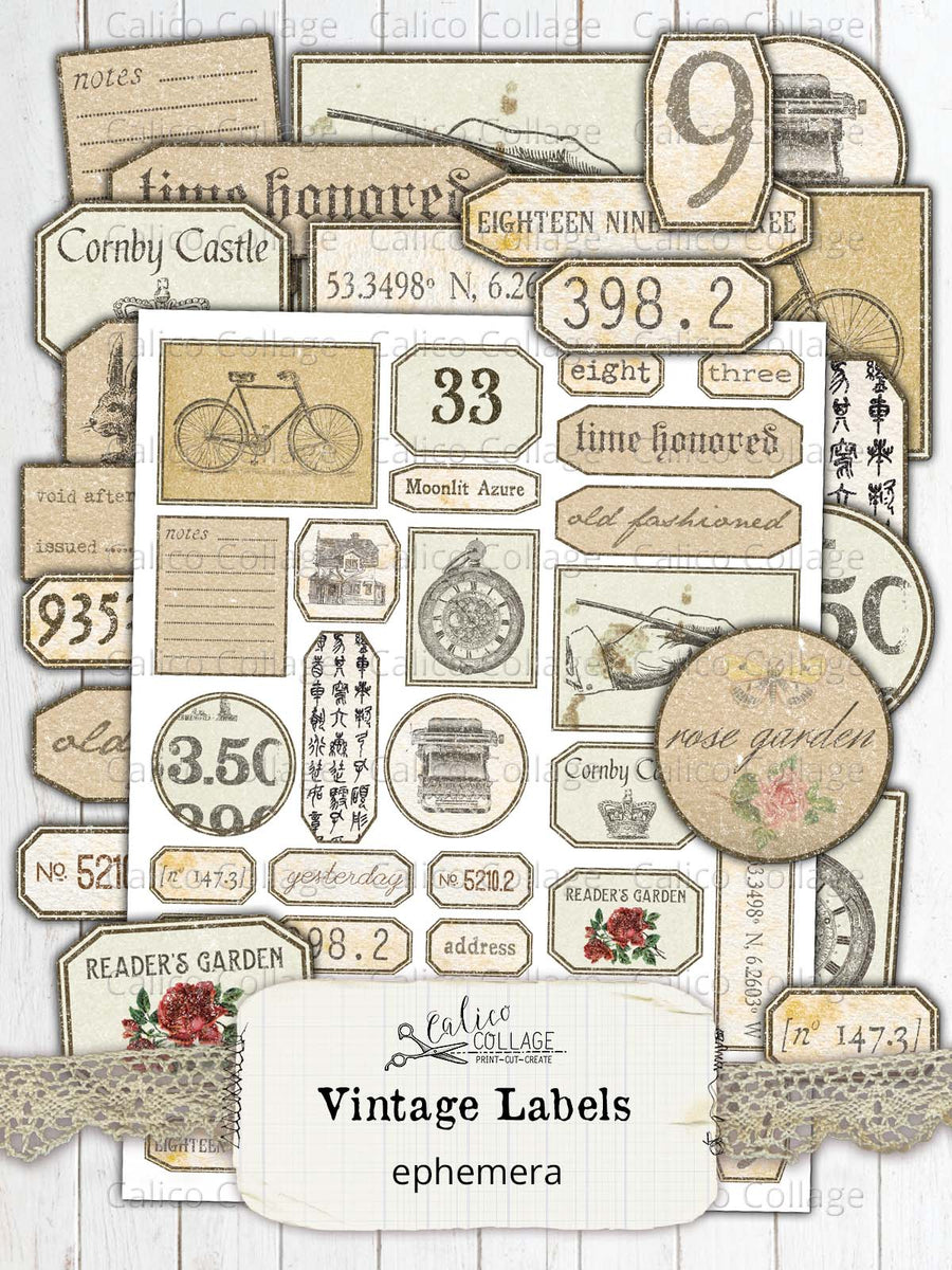 Printable Vintage Labels, Junk Journal Supplies