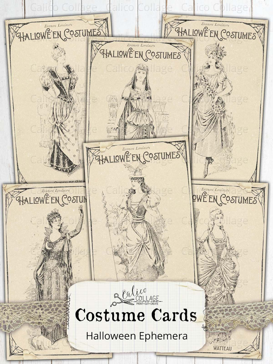 Printable Vintage Costume Cards, Vintage Halloween Ephemera
