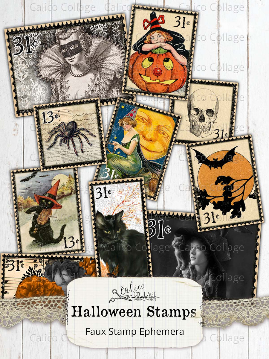 Vintage Halloween Stamps, Junk Journal Supplies