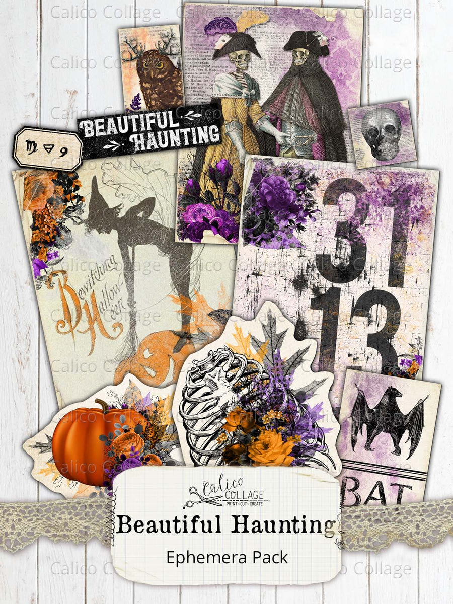 Beautiful Haunting Ephemera Pack, Halloween Ephemera