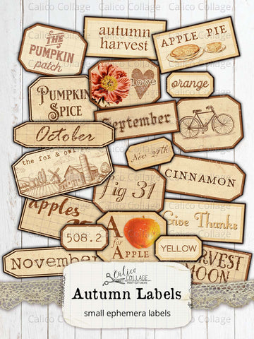 Printable Autumn Labels, Junk Journal Supplies