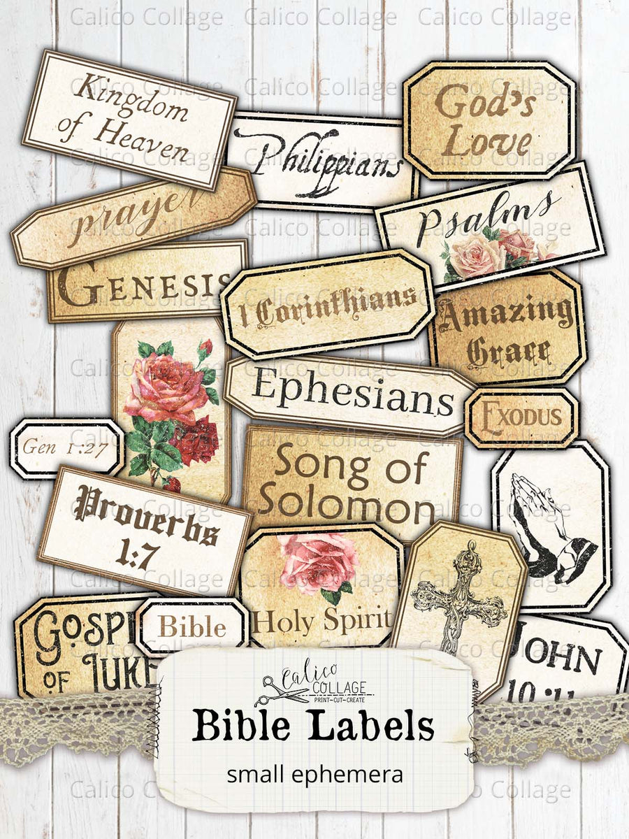 Faith Bible Labels, Junk Journal Supplies