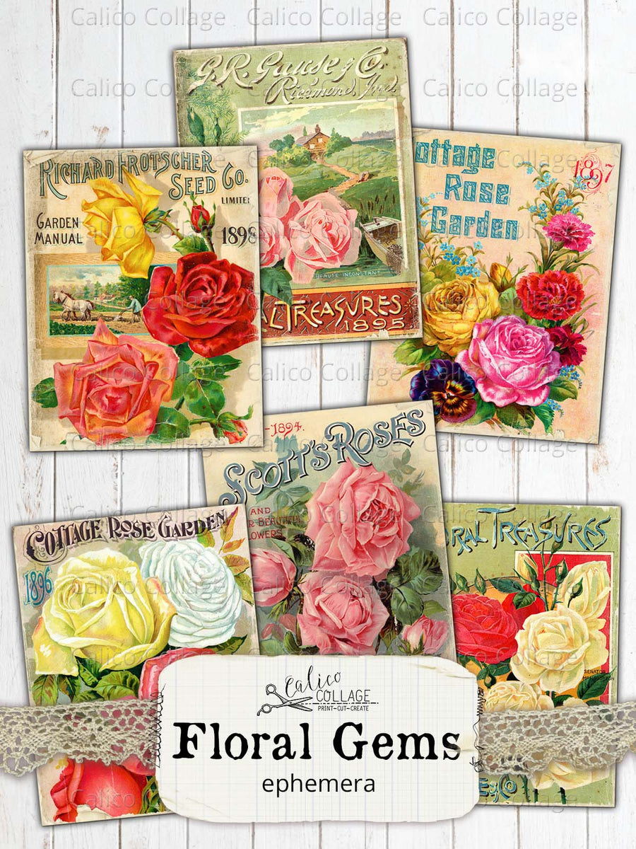 Vintage Seed Catalogs Junk Journal Journaling Cards
