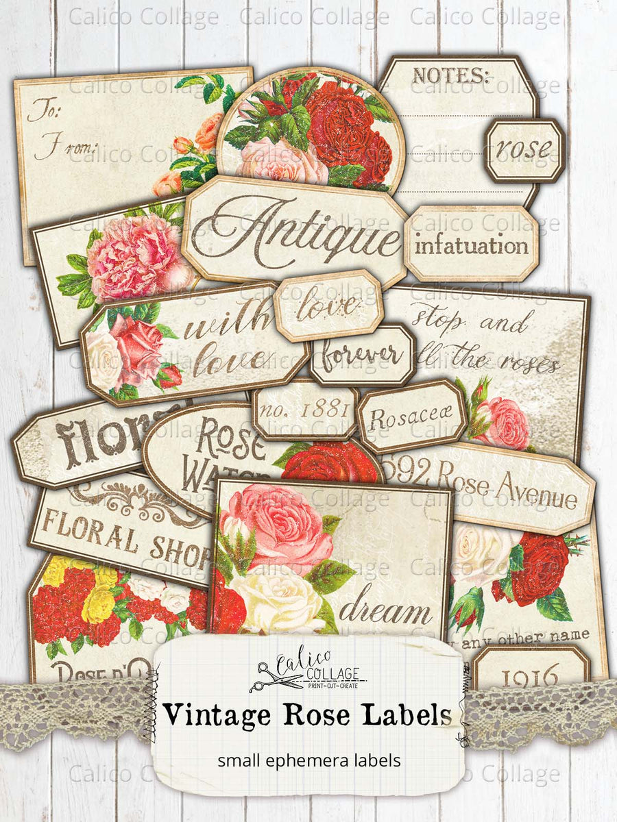 Vintage Rose Labels, Junk Journal Supplies