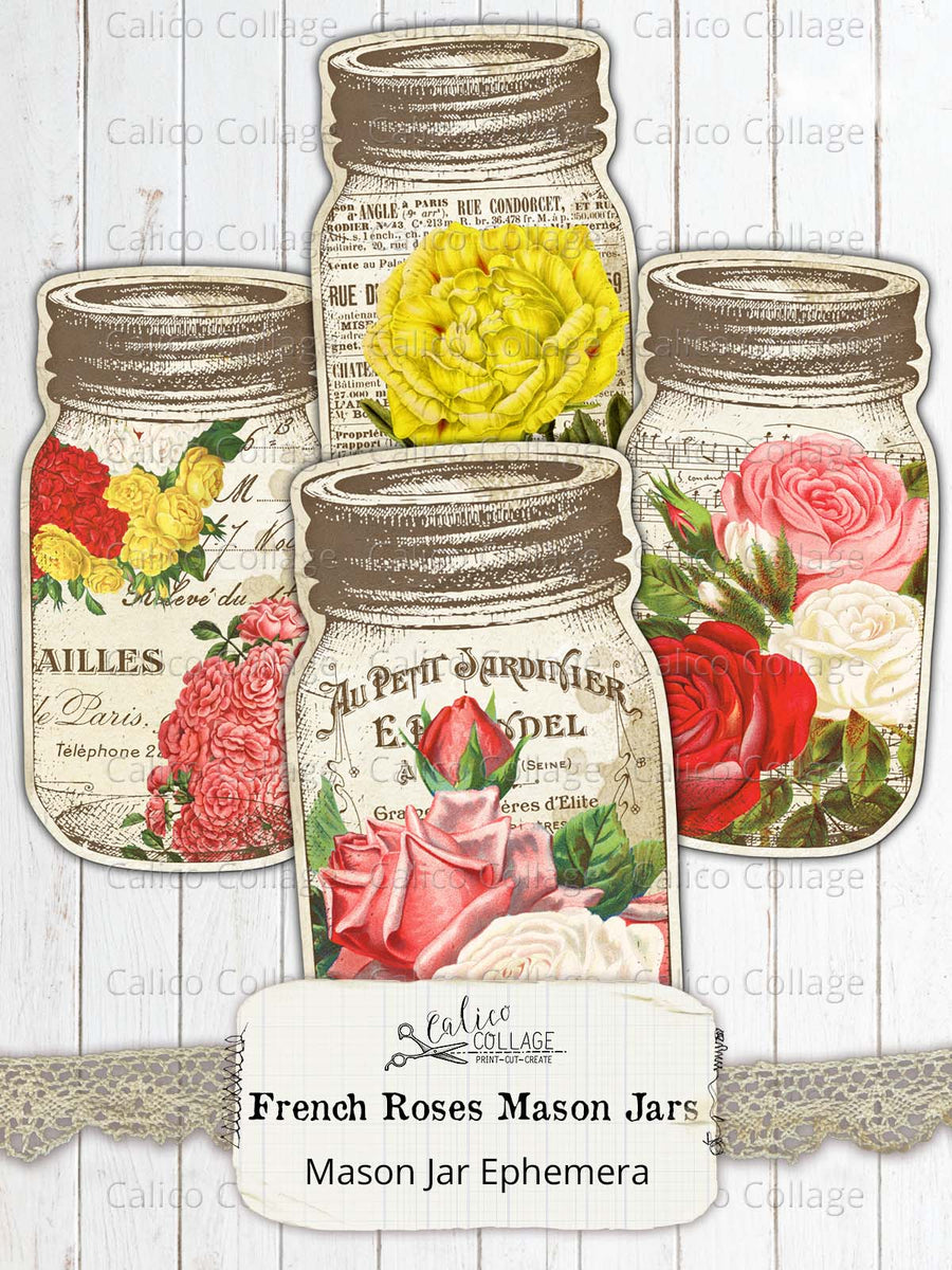 French Roses Mason Jar Tags, Junk Journal Supplies