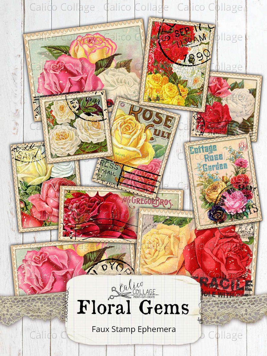 Floral Gems Faux Stamps, Junk Journal Supplies