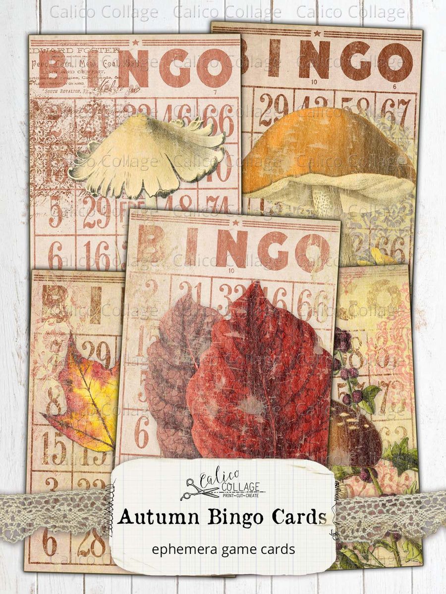 Printable Autumn Bingo Cards, Junk Journal Supplies