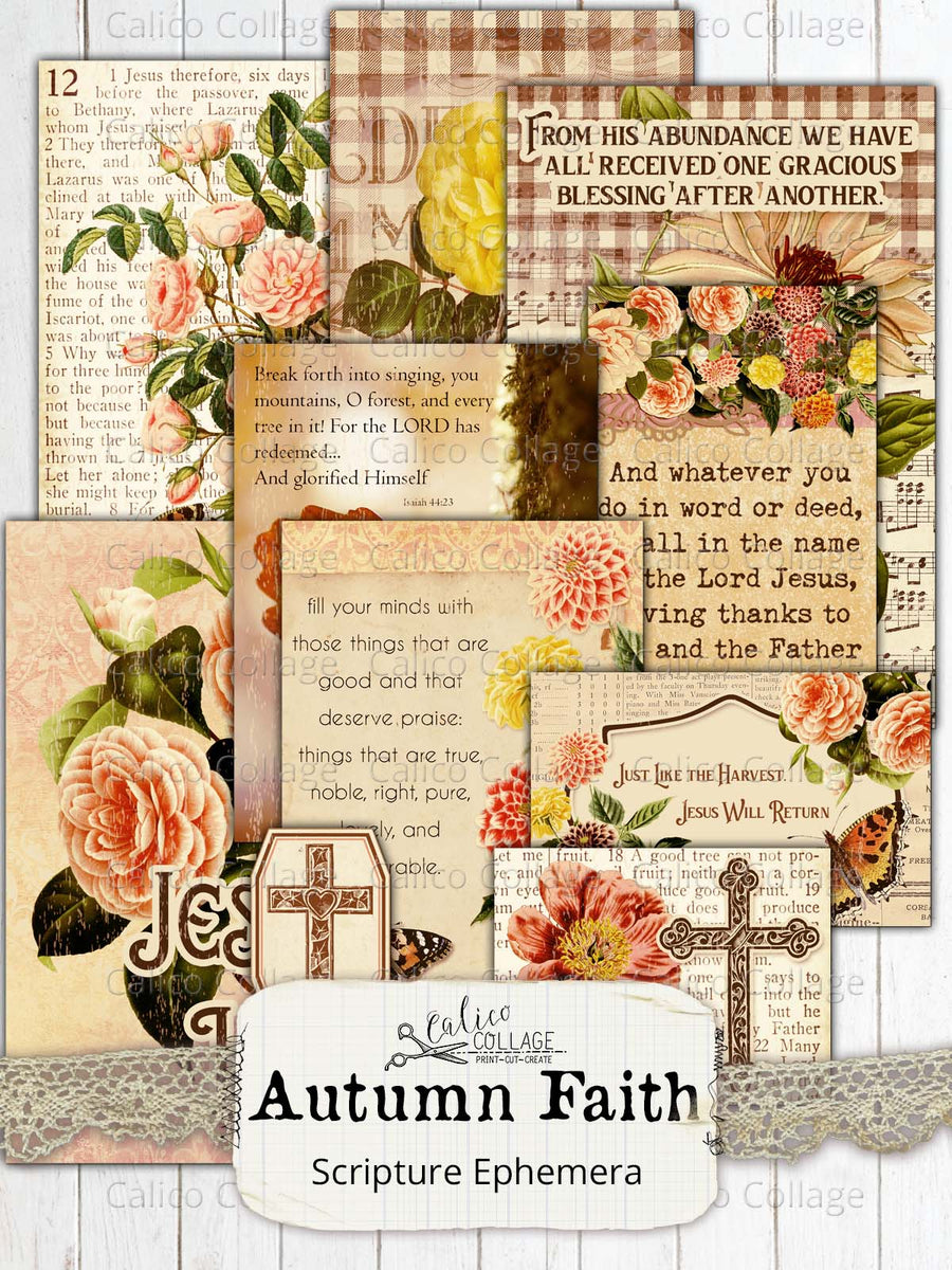 Autumn Faith Junk Journal Ephemera Pack