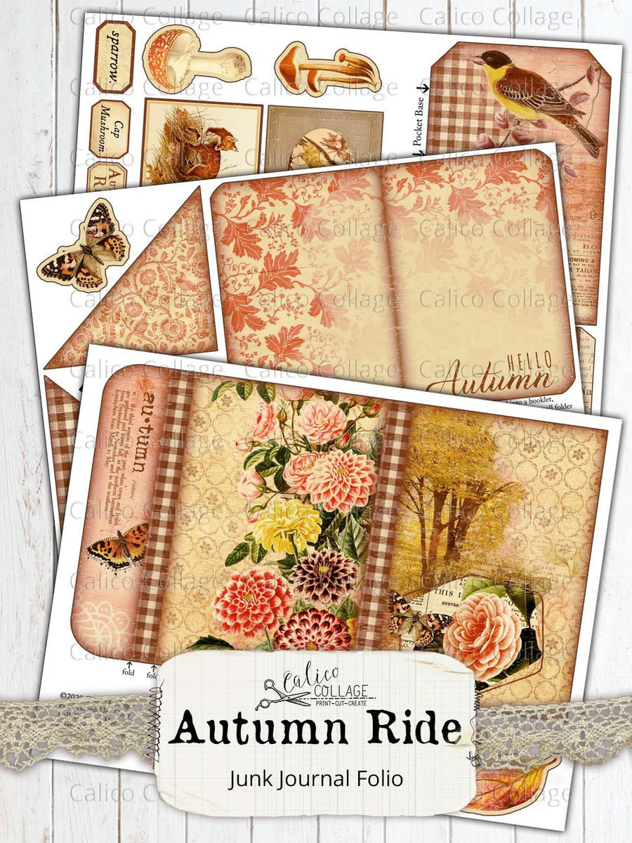 Autumn Junk Journal Folio, Junk Journal Kit