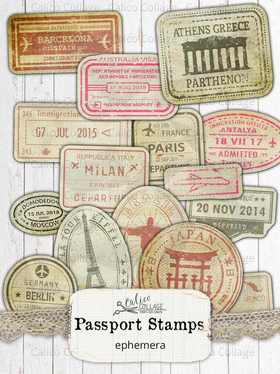 Printable Passport Stamps, Junk Journal Supplies