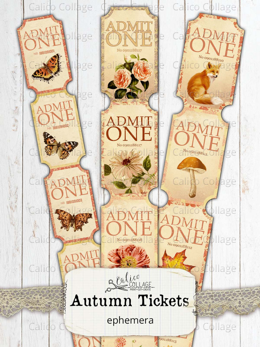 Printable Autumn Tickets, Junk Journal Ephemera