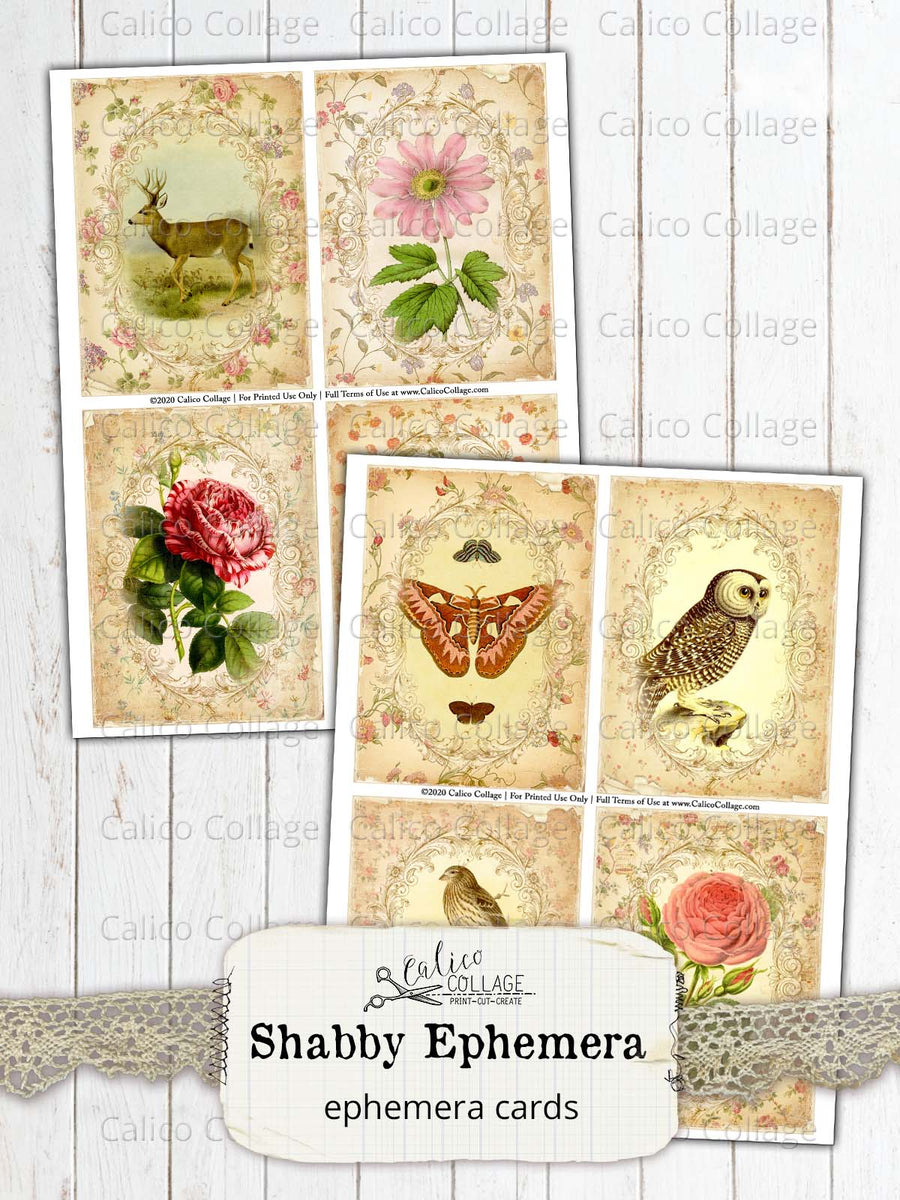 Shabby Ephemera Cards, Junk Journal Cards