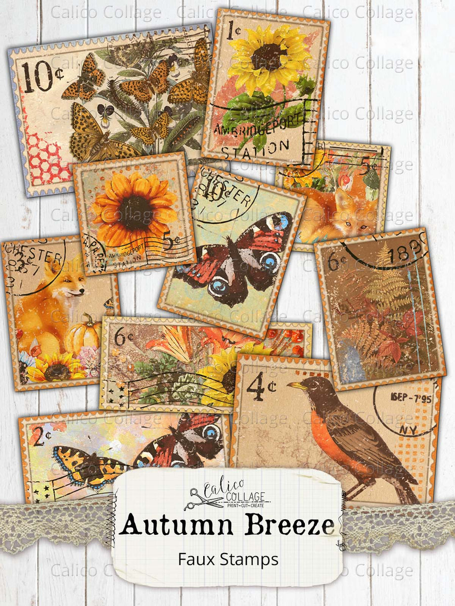 Autumn Breeze Printable Faux Stamps, Junk Journal Supplies