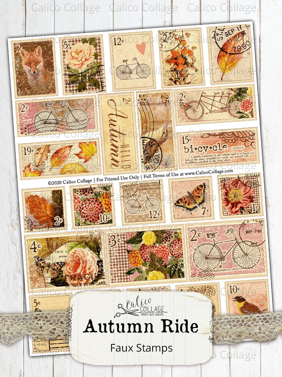 Autumn Ride Printable Faux Stamps, Junk Journal Supplies