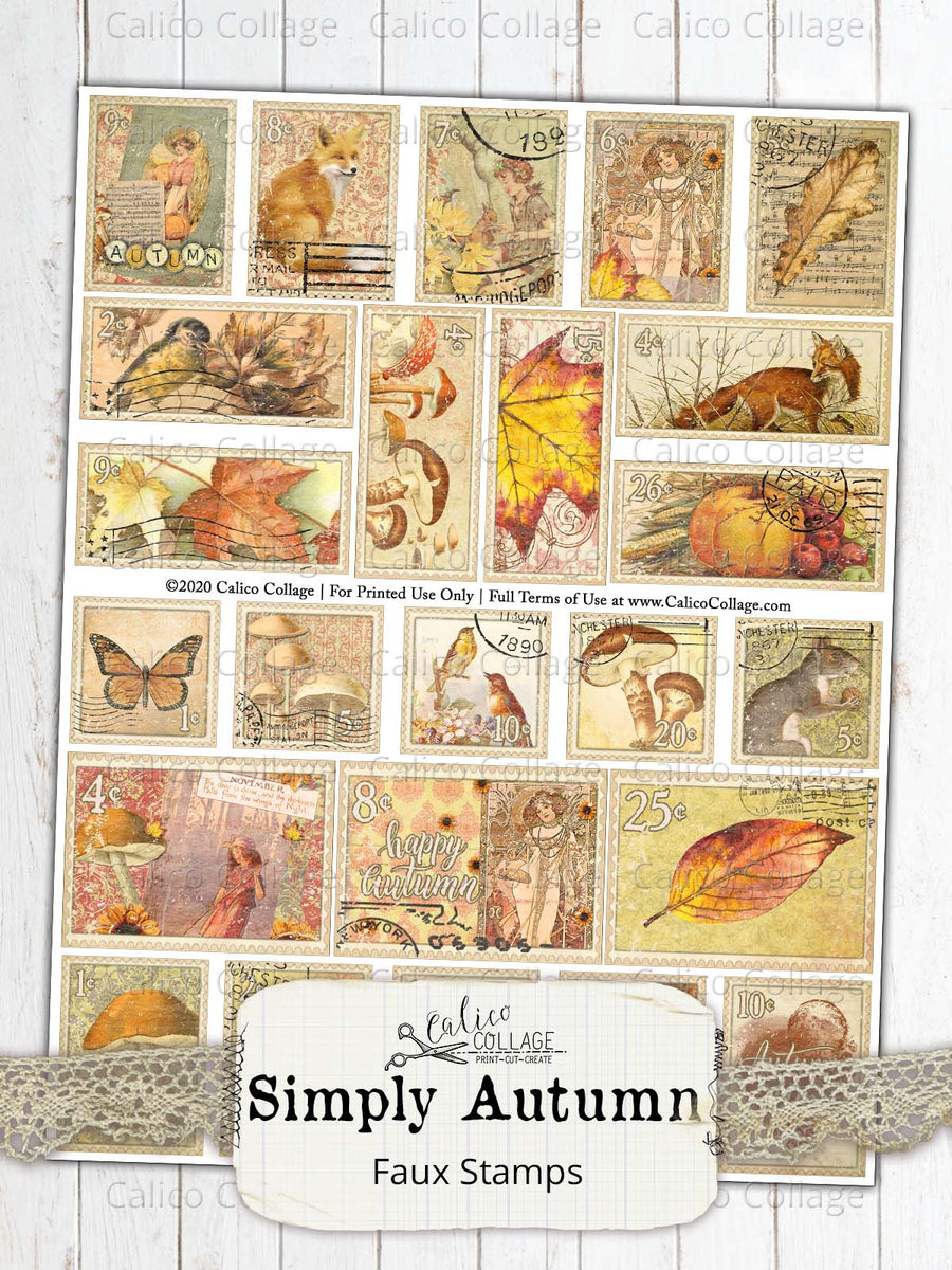 Simply Autumn Faux Stamps, Junk Journal Supplies
