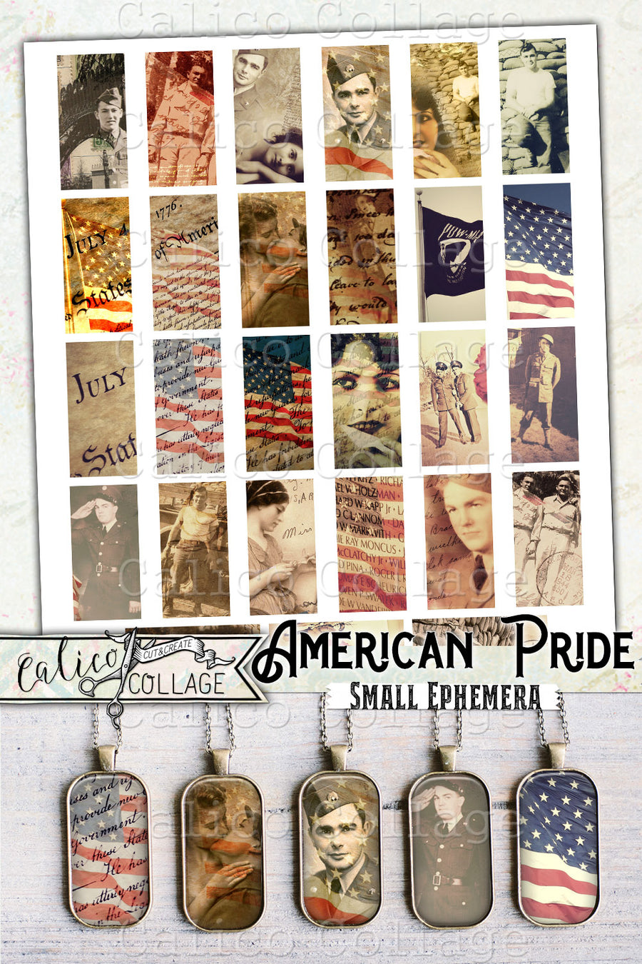 American Pride Printable Americana Ephemera Pack, Small Ephemera