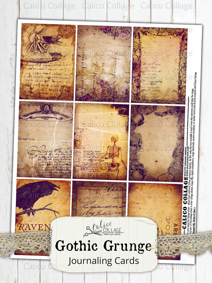 Printable Gothic Grunge Junk Journal Ephemera Cards