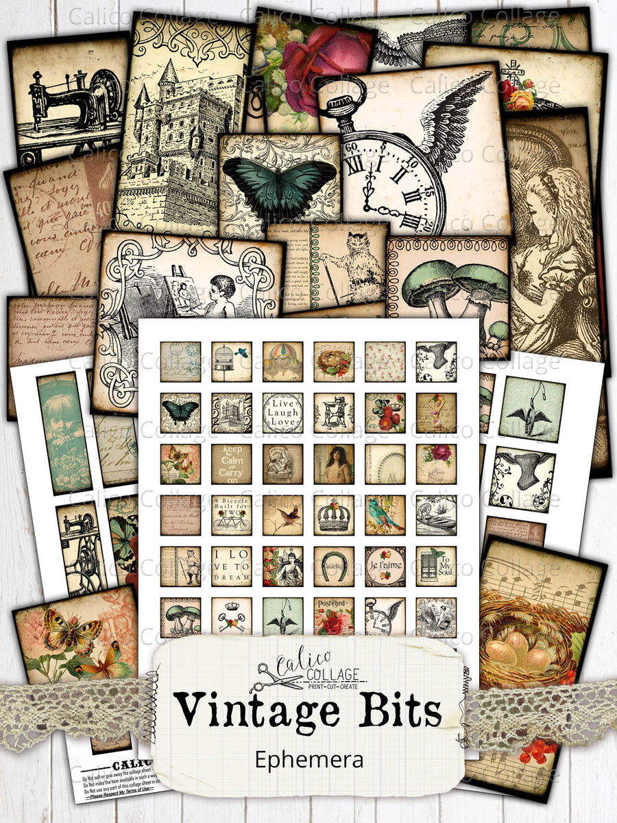 Vintage Bits Digital Collage Sheets, Small Ephemera Pack
