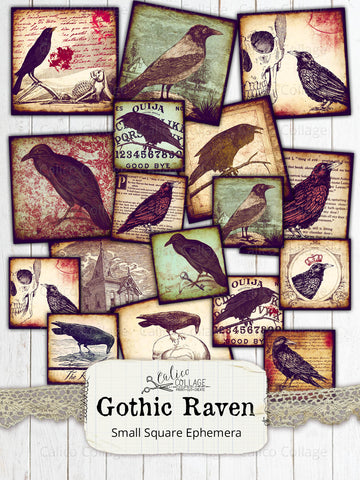 Printable Gothic Ravens Small Ephemera Pack