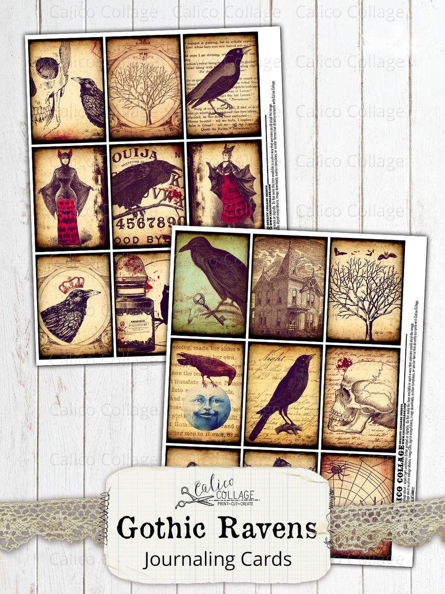 Gothic Raven Junk Journal Ephemera Cards, Junk Journal Supplies