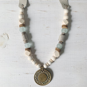 Cream and Light Blue Equestrian Medallion