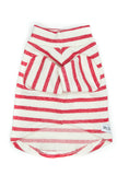 Stripy Dog T-shirt in Red and Cream, 100% Organic Cotton.