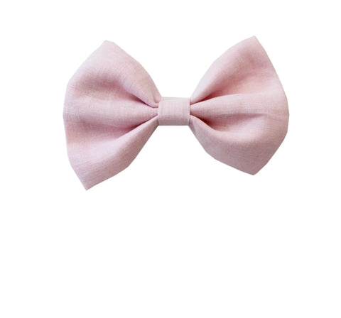 Linen Baby Pink Dog Bow Tie