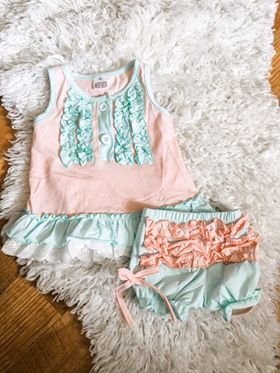 Pink and Blue Cotton Pajama Set