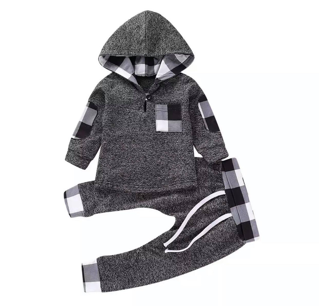 Pattern Hooded Set - Black & White