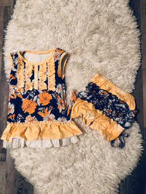 Mustard and Navy Floral Bloomer Set