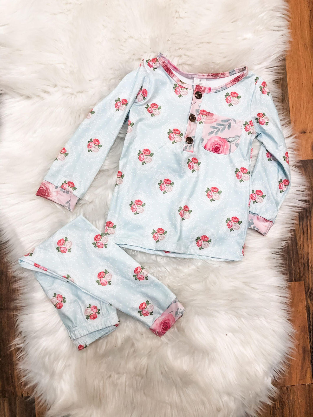 Framed Roses Pajama Set With Painted Roses- Long Sleeves