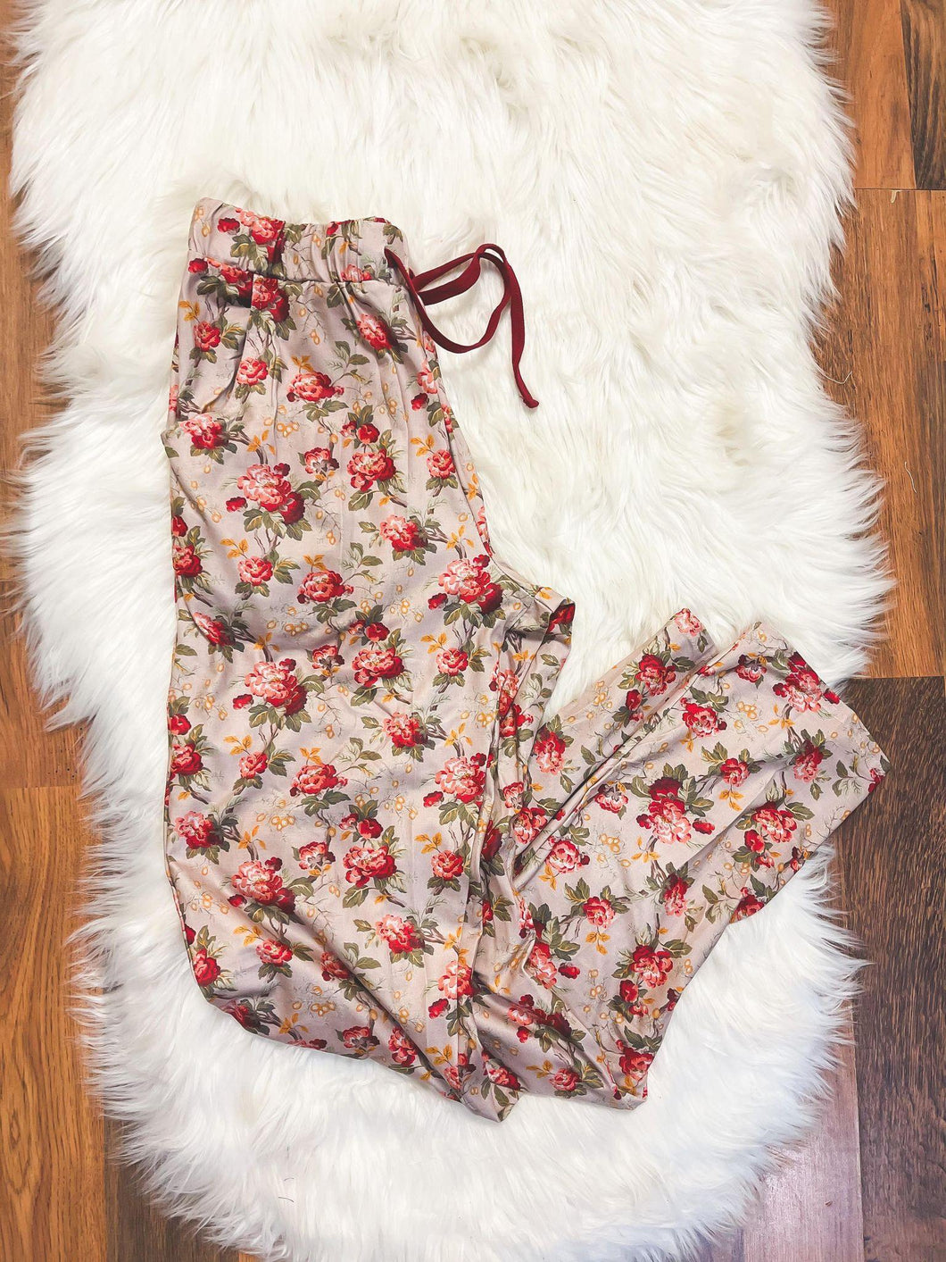 Little Explorer Collection - Crimson Vintage Rose  Pajama Pants For Mom - Georgia's Boutique