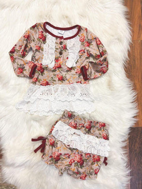 Little Explorer Collection - Vintage Crimson Rose Tunic Gown and Bloomers with eyelet Lace Ruffles / Long Sleeve