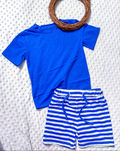 By the Sea Unisex Blue Striped Short Set