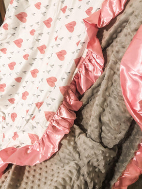 50x50 Pink and Gray Hearts w/gray minky and satin Ruffle