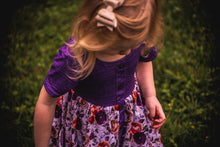 Load image into Gallery viewer, Perfectly Purple Floral Twirl Dress