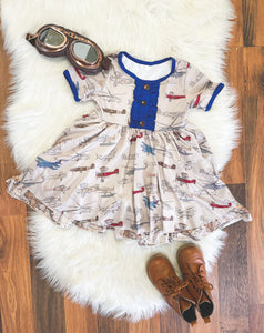 Little Explorer Collection - Short Sleeve Vintage Planes Twirl Dress with Blue Trim (Map Underskirt) - Georgia's Boutique