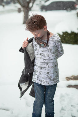 Little Explorer Collection - Long Sleeve Duster Planes Henley Tee