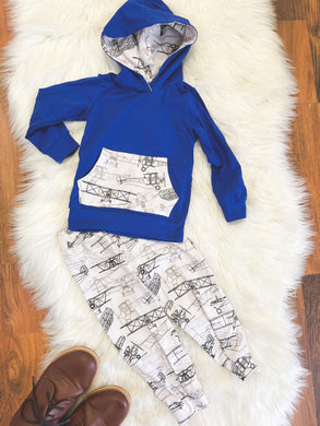 Little Explorer Collection - Long Sleeve Hoodie Pant Set - Royal Blue with Duster Planes