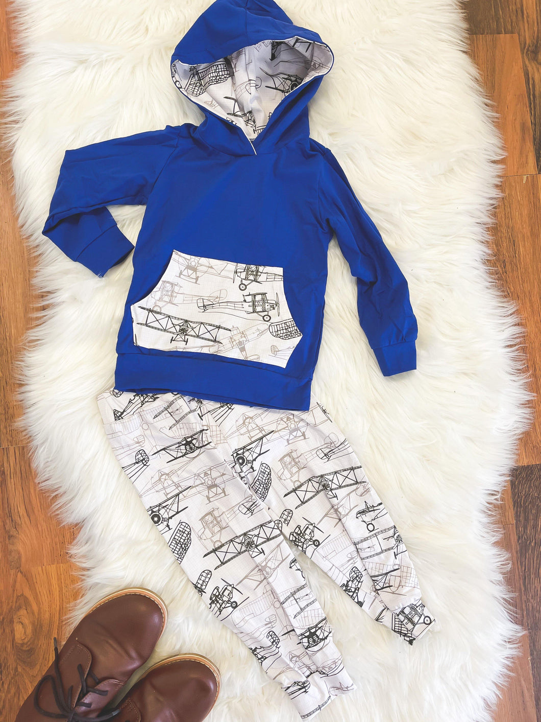 Little Explorer Collection - Long Sleeve Hoodie Pant Set - Royal Blue with Duster Planes - Georgia's Boutique