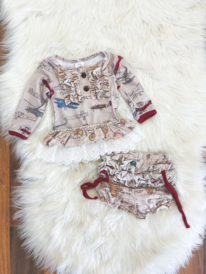 Little Explorer Collection - Vintage Planes Tunic with Map Bloomers