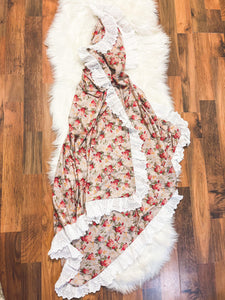 Little Explorer Collection - Double Sided Vintage Crimson Rose with eyelet Lace Ruffle 60X80 - Georgia's Boutique