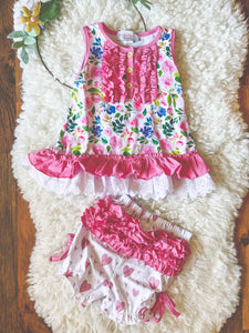 Rose Garden Sleeveless Tunic Gown and Heart Bloomers