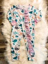 Load image into Gallery viewer, Ocean print Girls Layette w/pinkpurple Ruffles
