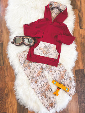 Little Explorer Collection - Long Sleeve Hoodie Pant Set - Crimson with Maps