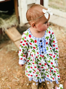 Strawberry Picnic Long Sleeve Twirl Dress